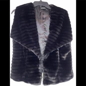 Tribal Black Faux Fur Vest with Hook/Eye Closure